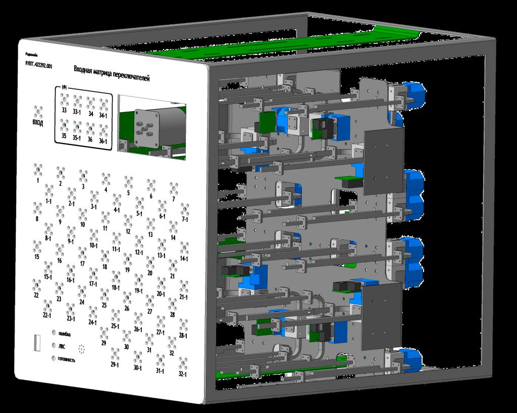 Волноводно-коаксиальная матрица переключателей
